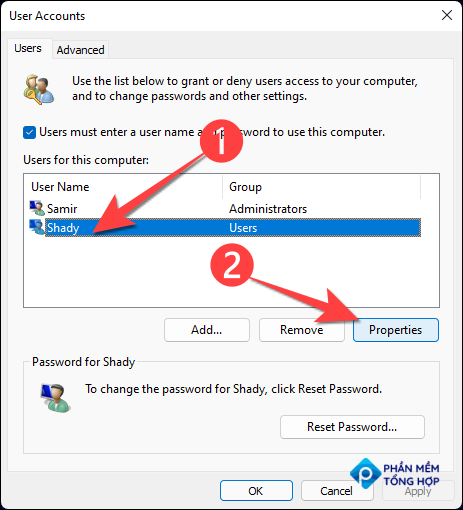 """From the """"User Accounts"""" window, select the account you want to upgrade from a user to administrator and select """"Properties."""""""