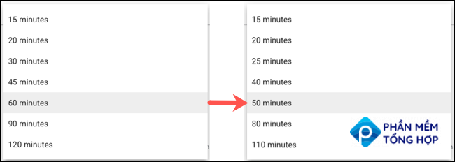 Default durations with and without Speedy Meetings