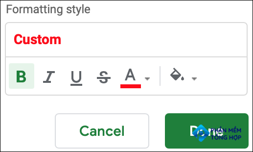 Select your formatting and click Done