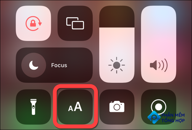 """After this, the """"Text Size"""" button will appear when you open the Control Center."""