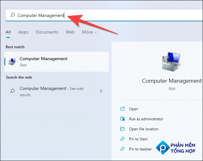 """Click Start, type """"Computer Management"""" in the Windows Search, and hit Enter."""