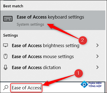 """Type """"Ease of Access"""" in the Windows Search bar and click the """"Ease of Access"""" option in the search results."""
