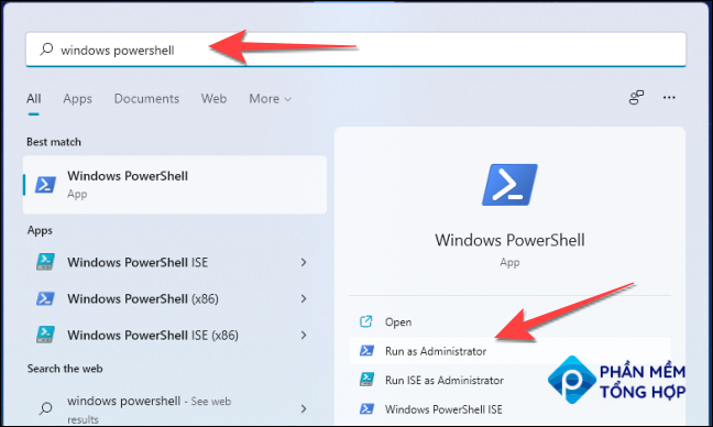 """After clicking Start, type """" windows powershell"""" in the Windows Search, and select """"Run as administrator."""""""