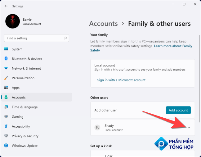 Select the drop-down next to the user account.