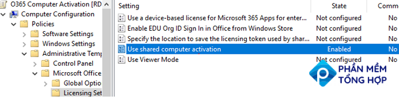 Use shared computer activation - option on Office GPO templates