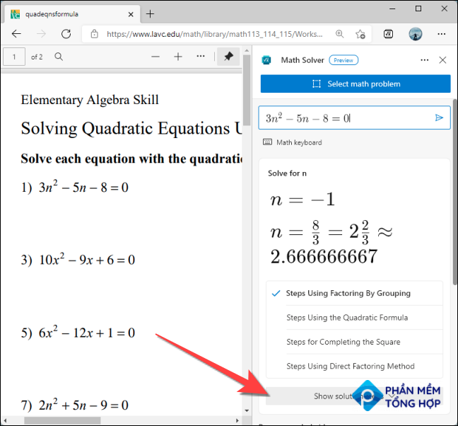 If you want to figure how did it arrive to that solution, choose one of the steps for the solving methods under the answer to learn more.