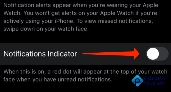 """Tap the switch next to """"Notifications Indicator"""" to hide the red dot on your Apple Watch."""