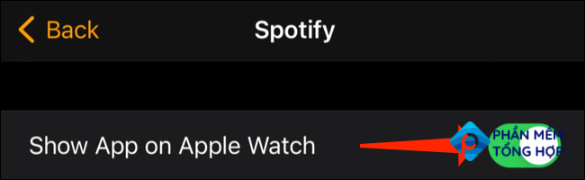 """To make sure that Spotify is also on your Apple Watch, ensure that the """"Show App On Apple Watch"""" option is enabled."""