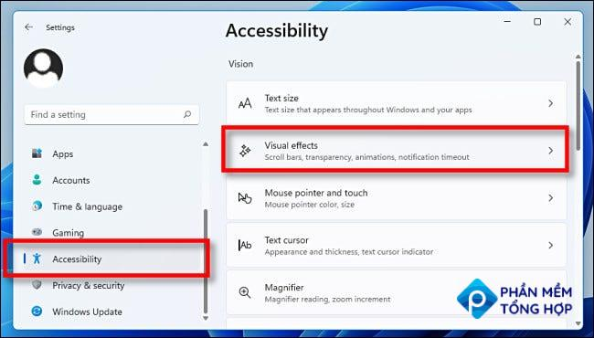 """In Settings, click """"Accessibility,"""" then """"Visual Effects."""""""
