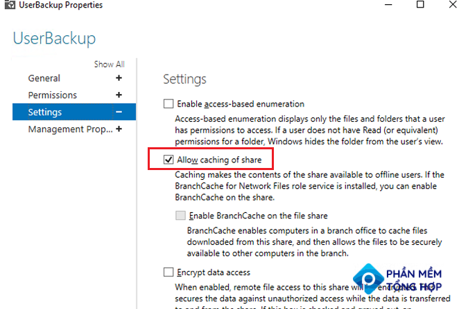 Windows Server - share properties - allow caching of share