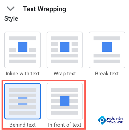 Expand Text Wrapping and pick Behind Text or In Front of Text