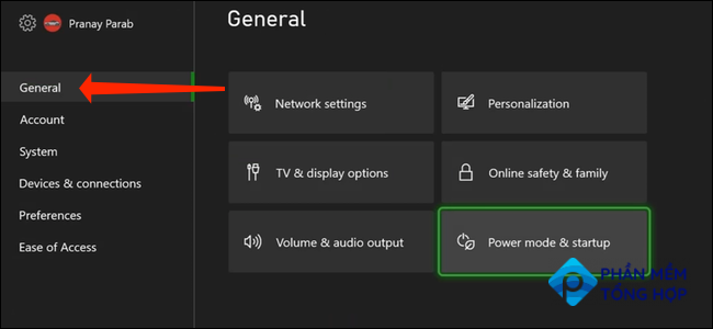 """In Xbox Series X S settings, navigate to the """"General"""" tab in the left pane."""