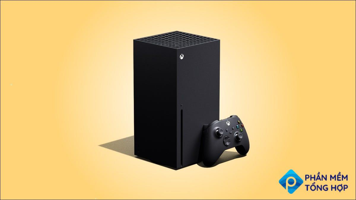 Xbox Series X on a yellow background.