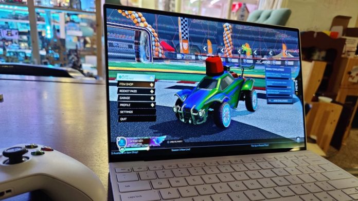 A Dell XPS 13 OLED playing Rocket League