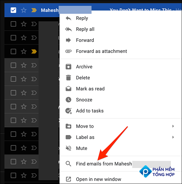 """Right-click an email in Gmail and select """"Find Emails From."""""""