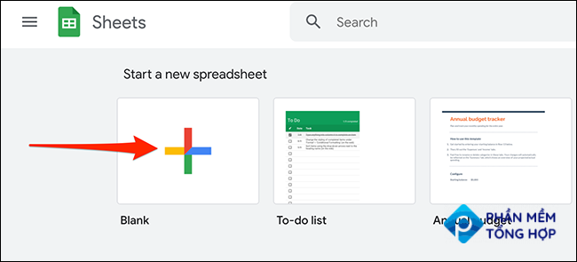 """Click """"Blank"""" on Google Sheets to make a new spreadsheet."""
