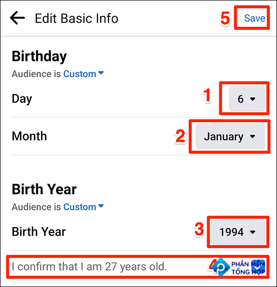 Save new birthday details in the Facebook app.