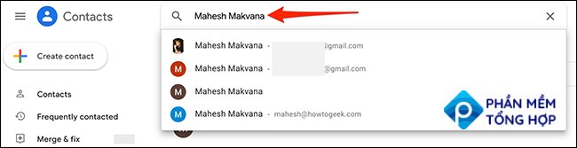 Find and select a contact on Google Contacts.