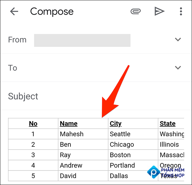 A pasted table in an email in the Gmail app.