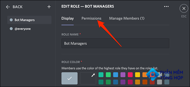 """Click """"Permissions"""" on the """"Edit Role"""" page in Discord."""