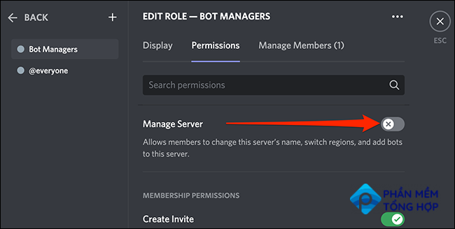 """Enable the """"Manage Server"""" permission for a user role on Discord."""