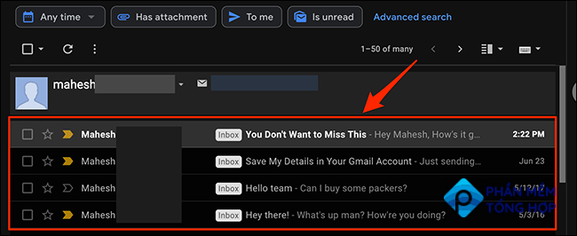 Emails sorted by the specified sender in Gmail.