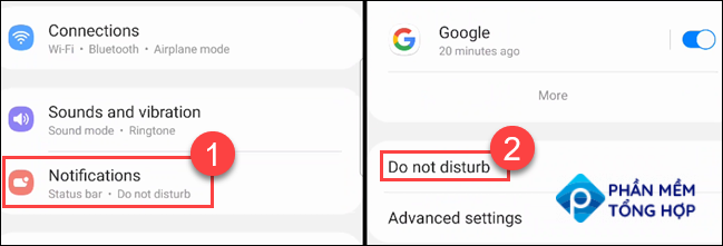 Go to Notifications > Do Not Disturb.