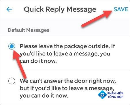 """Choose a message and tap """"Save"""" when you're done."""