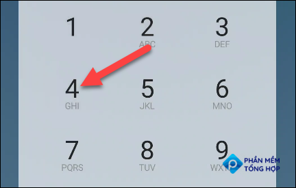 """Once you're connected to your voicemail, tap """"4"""" on the dialer."""