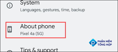 """Go to """"About Phone."""