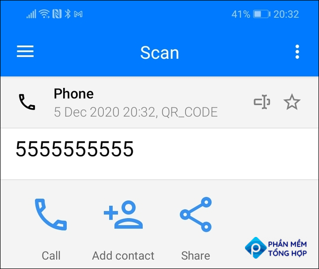 Scan results for a phone number QR code