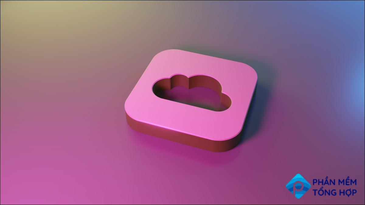 3D Apple iCloud logo on blue and violet surface