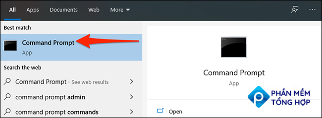 """Select """"Command Prompt"""" in the """"Start"""" menu on Windows 10."""