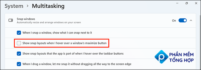 """Disable the """"Show snap layouts when I hover over a window's maximize button"""" option in Settings on Windows 11."""
