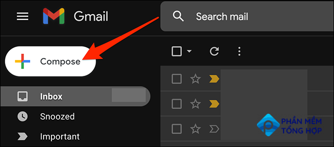 """Select """"Compose"""" on the Gmail site."""