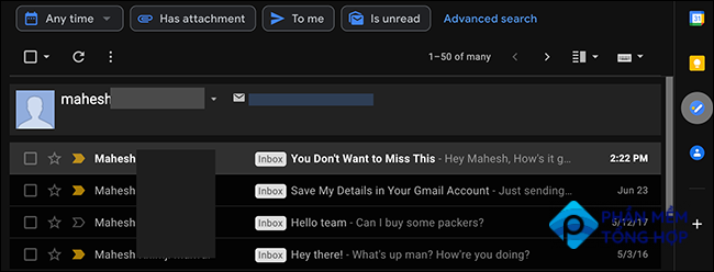 Gmail emails sorted by sender.