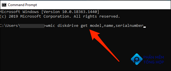 Run a command to find the hard drive serial number in Command Prompt.