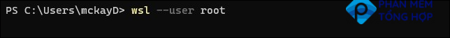wsl --user root in a command window