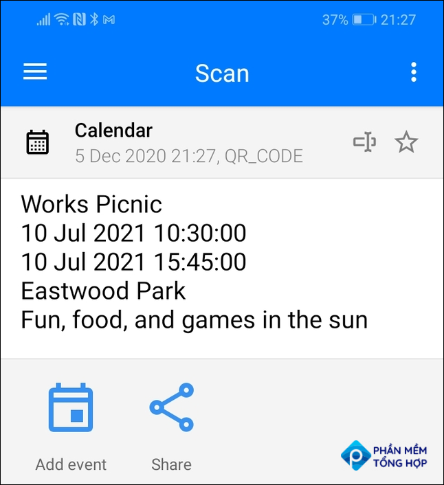 Scan results for a calendar event QR code