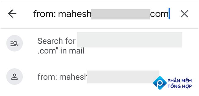 Type the sender's email address and hit Enter in the Gmail app.