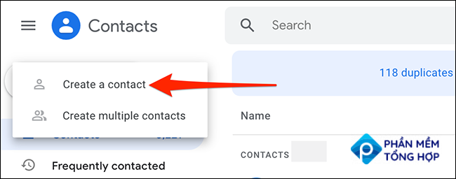 """Select """"Create Contact > Create a Contact"""" on Google Contacts."""