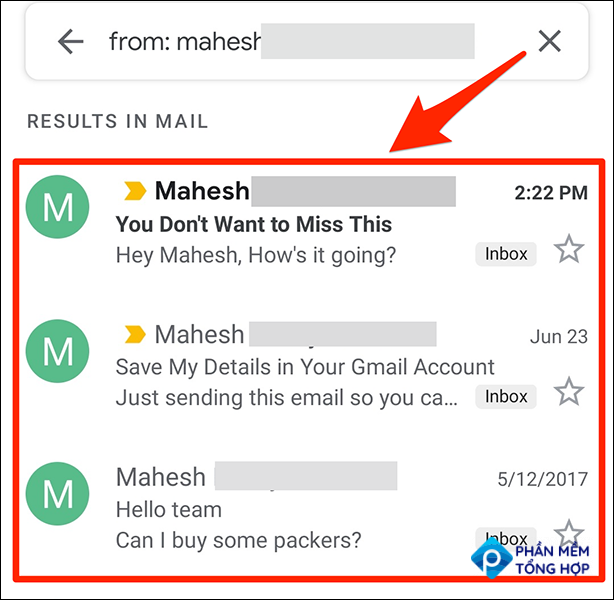 Emails sorted by sender in the Gmail app.