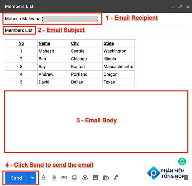 Fill in email fields in Gmail.