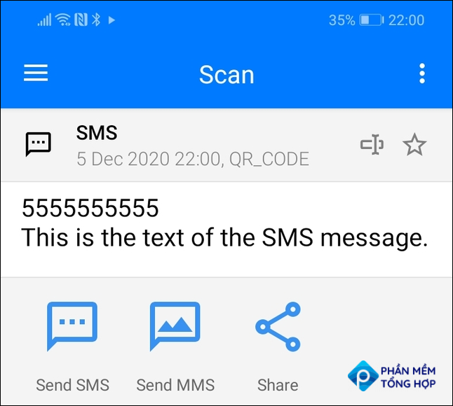Scan results for an SMS QR code