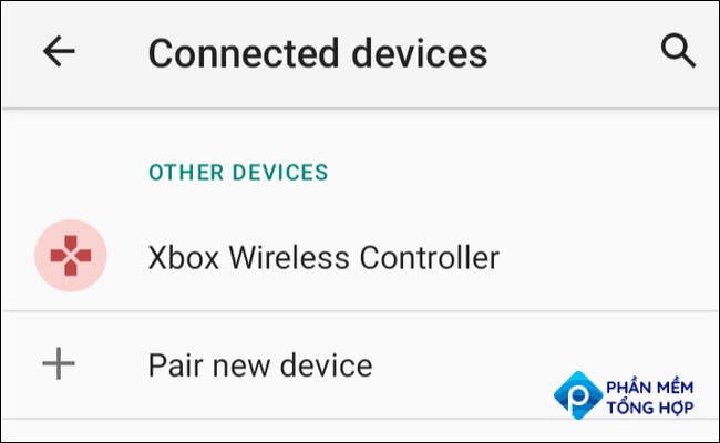 """The Xbox Wireless Controller showing up under """"Connected Devices"""" in Android Settings."""