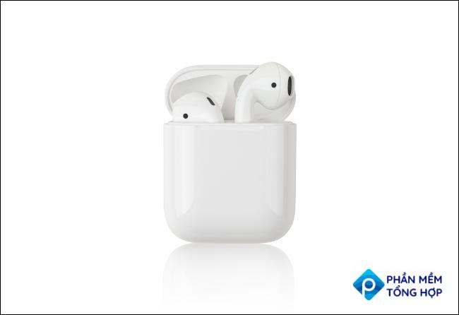 Apple Airpods in their case.