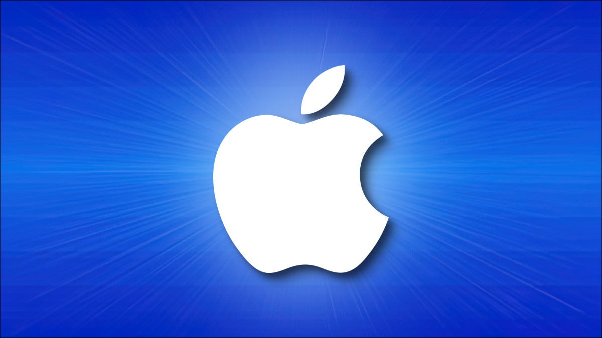 The Apple logo on a blue background with horizontal lines