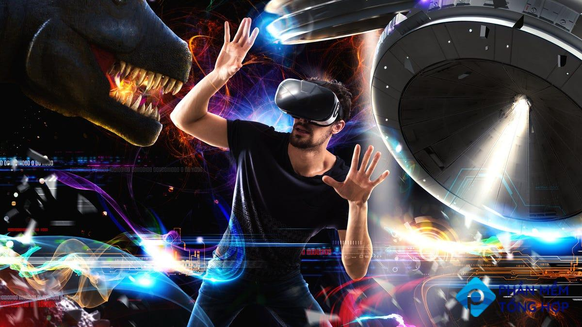 A man playing games in VR, surrounded by dinosaurs, UFOs, and more.