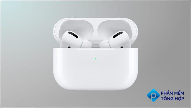 airpods pro on grey background