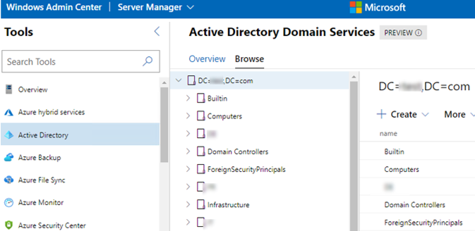 Browse Active Directory OUs in WIndows Admin Center